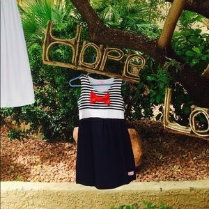 Girl's Nautical Navy and White Striped Dress
